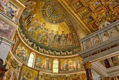 Santa Maria in Trastevere church in Rome.  Founded in the 3rd century, this church was one of the very first official places of Christian worship in Rome. The present building dates mostly from the 12th century.  The magnificent mosaic of the apse depicts the Coronation of the Virgin. Saints, led by Peter, witness the scene.  The lower panels by Pietro Cavallini (1291) illustrate episodes from the Virgin's life.