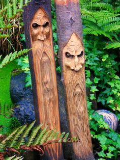 Two Woodspirit carvings by woodspirits on Bushcraft UK