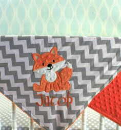 Sooo doing this after thumper is born so I can monogram! Love this. Fox baby Blanket  Fox applique and Name by TheButtercupBoutique.