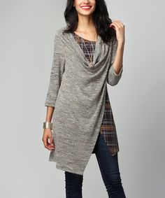 Look what I found on #zulily! Oatmeal Melange & Plaid Layered Tunic by Reborn Collection #zulilyfinds