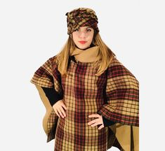 Wool woman poncho with hat .Warm, comparable and easy to wear #wool#woman#poncho#handmade#hat#design#sewn#style#girl#gift#wear#warm#comparable#beautiful#winter#classic#vintage#fashion Wool Poncho, Girl Gifts, Classic Style, Vintage Fashion, Hat, Woman, Trending Outfits, Winter, How To Wear