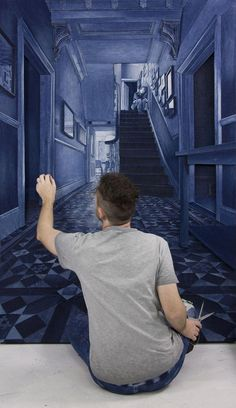 London-based artist Ian Berry creates hyper-realistic pieces of art, featuring places like the laundromat, out of denim jeans.Ian Berry creates melancholic urban scenes, often depicting a lonely or less glamorous side of city living. Jean Crafts, Denim Crafts, Denim Kunst, Ian Berry, Denim Art, Cheap Hobbies, Recycled Denim, Fabric Art, Denim Fabric