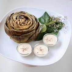 Simple preparation of Artichoke goes really nice with a garlic yogurt dip.