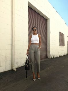 >>> White Midriff and Vintage High Waist Trousers