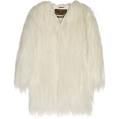 Roberto Cavalli - Oversized Leather-trimmed Goat Hair Coat ($1,852) ❤ liked on Polyvore featuring outerwear, coats, white, roberto cavalli, roberto cavalli coat, oversized coat, leather trim coat and white coat