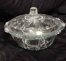 Vintage Clear Pressed Glass Round Candy dish With Lid