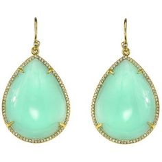 Irene Neuwirth  Irene Neuwirth Mint Chrysoprase Teardrop Earrings with Pave Diamonds - Yellow Gold