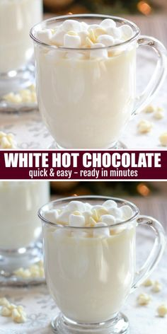 Sweet and creamy White Hot Chocolate. Ready in minutes! Cocoa Recipes, Coffee Recipes, Gourmet Recipes, Dessert Recipes, Baileys Recipes, Hot Desserts, Kefir Recipes, Milk Recipes, Homemade Hot Chocolate