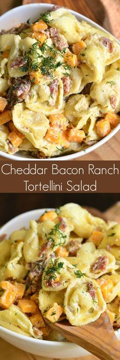 Low Carb Recipes To The Prism Weight Reduction Program Cheddar Bacon Ranch Tortellini Salad. This Tortellini Salad Is Loaded With Crispy Bacon, Sharp Cheddar Cheese, And Tossed In A Creamy Ranch Sauce. Tortellini Recipes, Pasta Recipes, Salad Recipes, Cooking Recipes, Healthy Recipes, Tortellini Pasta, Cheese Tortellini Salad, Mac Salad Recipe, Pasta Dishes