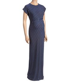This Navy Polka Dot Maternity Cap Sleeve Maxi Dress by GLAM is perfect! #zulilyfinds