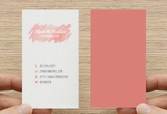 Business Card -Watercolor Rustic- Printable Premade Template Double or single sided, Calling Card - Digital Download. Pink. Salmon