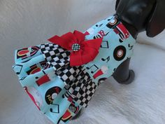Rockin Roll  Dog Dress with two ruffles and by graciespawprints