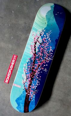 "No Aware"" today's ‪Featured Deck‬ designed by Eric 'E' Krichevsky is a digital painting of a sakura tree inspired by traditional Japanese artwork. See Eric's portfolio at . Painted Skateboard, Skateboard Deck Art, Skateboard Design, Skateboard Girl, Skate Longboard, Longboard Design, Skates, Snowboard Girl, Skater Girls"