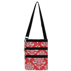 "Coral and Navy 10"" x 7"" Triple Zipper Messenger Hipster Bag"