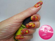 Autumn Leaf Saran Wrap Nails fall leaves nail art design 2016 easy