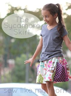 Sew Like My Mom | Skirting the Issue--sycamore skirt tutorial, with link to cute pocket shorts free pattern