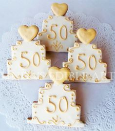 50th Wedding Anniversary Cake Cookie by LindasEdibleArt on Etsy