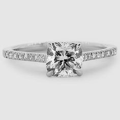 Platinum Lissome Diamond Ring // Set with a 0.93 Carat, Cushion, Very Good Cut, F Color, VS1 Clarity Diamond #BrilliantEarth