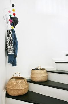 pops of color from eames hooks and cute baskets! also love the painted house design room design interior design designs Decor, House Styles, Inspiration, Interior Inspiration, Home And Living, Home Decor, House Interior, Home Deco, Black And White Stairs