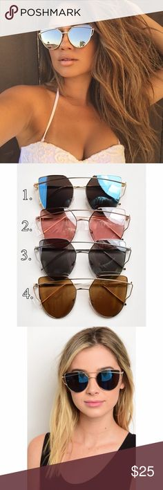✨CLEARANCE ✨Cat eye Mirrored Sunglasses Cat eye Mirrored Sunglasses. Available in 4 colors as shown in pic 2. Choose color at check out Fabfindz Accessories Sunglasses