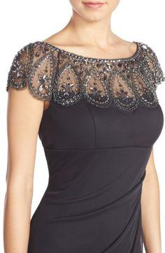 Xscape Embellished Illusion Ruched Jersey Gown (Regular & Petite) Nordstrom is part of Dresses - Dress Neck Designs, Designs For Dresses, Blouse Designs, Elegant Dresses, Beautiful Dresses, Blouse Patterns, Indian Designer Wear, Designer Dresses, Evening Dresses