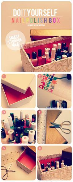 #DIY Nail Polish Box. organize makeup. #DIY #organize #makeup #DIY #organize #eyeshadow #DIY #organize #blush #DIY #organize #mascara #DIY #organize #eyeliner #DIY #organize #blush brushes #DIY #organize #lipstick #DIY #organize #powder #DIY #organize #foundation #DIY #organize #eyeshadow brush #DIY #organize #nail polish #nail #polish