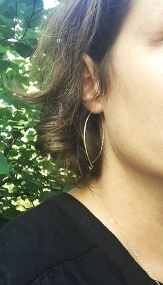 """The best """"light weight, go with everything, but don't look like everyone else"""" earring... We make these in 14K Gold filled and Sterling Silver.  www.sarahcornwelljewelry.com Lightweight earrings, Silver Earrings, Everyday Earrings, Gold Earrings, Wire Earrings, Threader Earrings"""