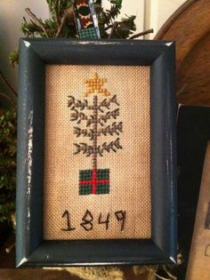 Early Sampler ~Cross Stitch Tuckaway 1849 Christmas Tree ~Prim Ornie~ #NaivePrimitive