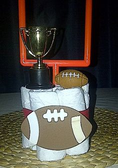 Mini Baby Football Diaper Cake by littleonecreation on Etsy, $9.50