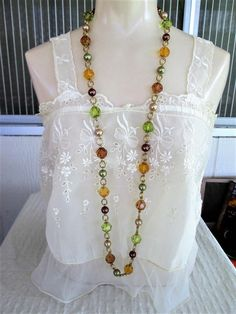 KJL Lucite Long Necklace 44 inch Earthtone Bead by VintageBADTIQUE
