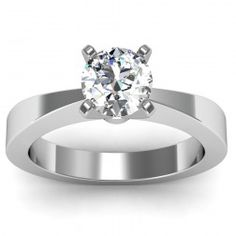 Tapered Solitaire Engagement Ring in 18k White Gold  In stockSKU: C1021-18W