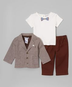 Another great find on #zulily! Brown Houndstooth Jacket Set - Infant #zulilyfinds