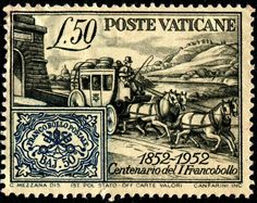 Vatican 50l 1952.  First Postage Stamp 100 year.