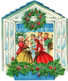 Peek Thru Window Guests Holiday Party Home Vintage Christmas Greeting Card Christmas Card Images, Vintage Christmas Images, Old Fashioned Christmas, Christmas Scenes, Christmas Past, Retro Christmas, Vintage Holiday, Christmas Greeting Cards, Christmas Pictures