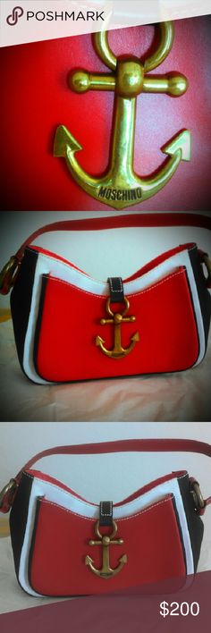 Moschino Nautical Red, White and Blue Handbag Great condition except an Estate sale mark on inside of outside pocket that cannot be seen from the outside and a small discoloration at upper seam of red leather pocket as shown. It is a clean bright white!  A fabulousl find! Brass anchor and hardware. Moschino Bags