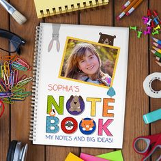 Personalised Notebook, Perfect gift for little kids and big kids, easter gifts, stocking gifts, kids birthday Personalized Notebook, Photo Upload, Little Monkeys, Unique Presents, Beautiful Gifts, Big Kids, Cute Animals, Birthday