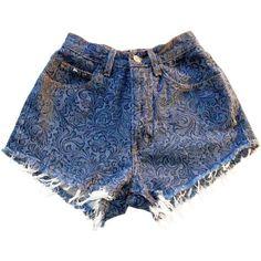Vintage, cut off,  jeans,  shredded,  damaged,  fray,  grunge, omen eye, short, shorts, blue, $39.99