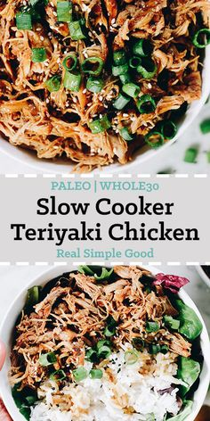 I don't think I'll ever tire of this Paleo + Whole30 slow cooker teriyaki chicken! It is an easy weeknight dinner or meal prep recipe. This healthy teriyaki chicken recipe is sure to be a new favorite and something you add to you regular rotation as an easy dinner the whole family loves!  realsimplegood.com #whole30 #slowcooker #crockpot #instantpot #chickendinner via @realsimplegood