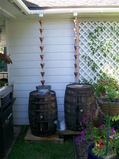 Barrels With Rain Chains