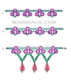 Free pattern for bridal necklace Monica - 2 Seed Bead Patterns, Beaded Jewelry Patterns, Beading Patterns Free, Peyote Patterns, Loom Patterns, Seed Bead Jewelry, Bead Jewellery, Craft Jewelry, Jewelry Necklaces