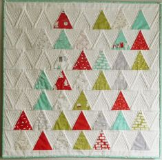 Cherry Christmas quilt by Carla at Grace & Favour blog, featured at Barbara Brackman's MATERIAL CULTURE: Thousand Pyramids