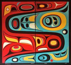 Money (Diptych) Framed Don Yeomans Haida / Metis Nations Native American Artwork, Native American Symbols, Haida Art, Inuit Art, Funky Art, Retro Color, Indigenous Art, Pulp Art, Aboriginal Art