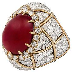DAVID WEBB Two Tone Cabochon Ruby Diamond Ring @ReinaIndy