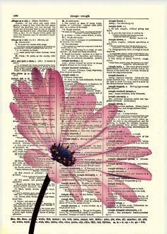 Pink Flower, Dictionary Art Print, Flower Art, Dictionary Print, Dictionary  Page,