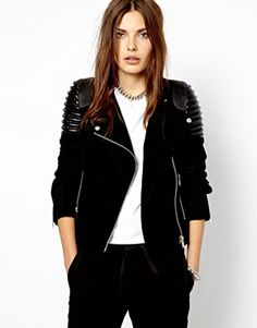 Mango Suede and Leather Biker Jacket at ASOS