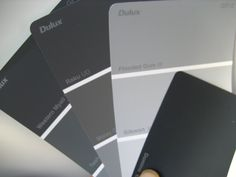In the case of this blogger...the shortlist for external paint colours (ie for all render work) was: DARK GREY TONES: Domino. (Note: Too dark for me. Maybe Colorbond Monument instead.) MEDIUM GREY TONES: Raku, Malay Grey, Stepney or Western Myall, Teahouse, Timeless Grey LIGHT GREY TONES : Flooded Gum, Silkwort, Dieskau