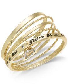 Thalia Sodi Gold-Tone 5-Pc. Set Pave Heart Lyric Bangle Bracelets - Gold