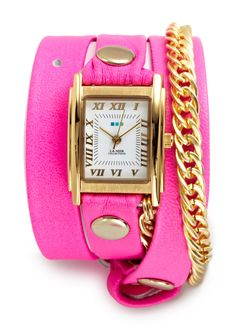 LA MER COLLECTIONS - glam chain wrap watch in neon pink/gold