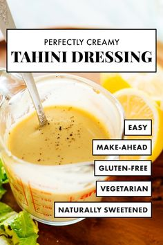 You're going to love this delicious CREAMY tahini dressing! It's SO SIMPLE t… You're going to love this delicious CREAMY tahini dressing! It's SO SIMPLE to make, full of nutritious ingredients and goes with everything! Tahini Salad Dressing, Salad Dressing Recipes, Salad Dressings, Sauce Recipes, Vegan Recipes, Health Recipes, Honey Mustard Dressing, Gastronomia, Kitchen
