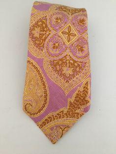 Very Vintage Bert? Pulitzer Pink Gold Paisley Extra Wide Tie 100% Irish Linen    eBay